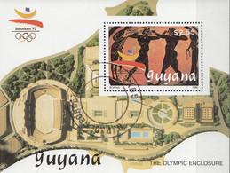 GUYANA 1989 Sc. 2229 Olimpiadi Barcelona '92 Sheet Perf. CTO Pugilato Boxing The Olympic Enclosure - Estate 1992: Barcellona