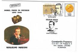 COV 68 - 676 Italy, Gugliemo MARCONI, Nobel Prize In Physics, Romania - Cover - Used - 2009 - Nobelprijs