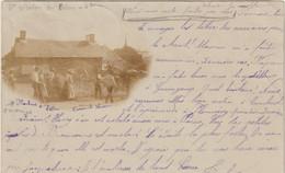 CPA  22 CARTE PHOTO  1901  SAINT NICOLAS DU BELEM    BATTAGE - Saint-Nicolas-du-Pélem