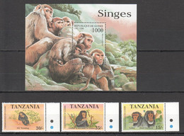 RR156 1998 TANZANIA REPUBLIQUE DE GUINEE ANIMALS & FAUNA MONKEYS CHIMPANZEES 1SET+1BL MNH - Chimpansees
