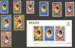 Belize Sc# 618-624 (incl Gold Borders) MNH Set/10 1982 Princess Diana - Belize (1973-...)