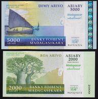 ♛ MADAGASCAR - 2.000+5.000 Ariary 2007-2012 {Commemorative} UNC P.93 + 94 - Madagaskar