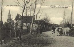 PIONSAT  L' Entrée Du Bourg Par La Route De St Gervais Vue Prise Du Moulin Des Eglaux  Attelage De Boeufs  Recto Verso - Otros Municipios