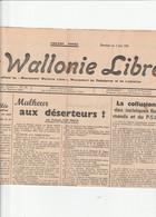 LA WALLONIE LIBRE JOURNAL DE 2 PAGES - 1950 - Heute