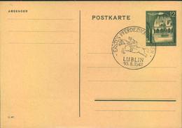 """1941, """"ERSTES PFERDEZUCHT RENNEN LUBLIN"""" Auf 12 Gr. GSK - Generalgouvernement - Granjas"""