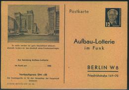"1952, 12 Pfg. Privatganzsachenkarte ""Aufbau-Lotterie"" Sauber Ungebraucht. - Private Postcards - Mint"