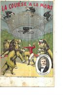 DIVERS        CIRQUE  2  VUES   LA COURSE A LA MORT   ET  DOMPTEUR DE LION    JACKSON   DOCUMENT 2 CHOIX Defauts - Circo