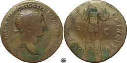LaZooRo: Roman Empire AE Dupondius Of Trajan (98-117 AD), S P Q R OPTIMO PRINCIPI, Trophy - 3. The Anthonines (96 AD To 192 AD)