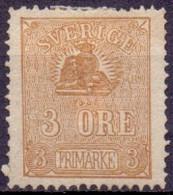 Zweden 1862 3öre Liggende Leeuw Bruin Type II NG - Neufs
