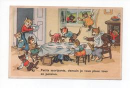"""Illustration  , Pas Signée  -  Chat  Famille  Humanisée  Au  Table  """"  Petits  Sacripants , Demain Je Vous Place....."""" - Katten"""