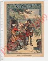 Gravure 1909 Mois D'Octobre Offrande Du Vin Nouveau Au Seigneur Moyen-âge Vendanges Hotte Pichet Vignes 237CH17 - Unclassified