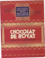 Rare Emballage De Tablettes De Chocolat Des Années 30 à 50      Chocolat De ROYAT     A ROUZAUD - Publicidad