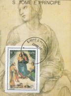 S. Tome E Principe 1989 Sc. 910 Madonna Sistina Quadro Dipinto Rafaello   Sheet Perf. CTO - Madonna