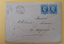 EMPIRE DENTELE 22 EN PAIRE SUR LETTRE DE VILLAINES LA JUHEL A MAYENNE DU 17 JANVIER 1866 (GROS CHIFFRE 4212) - 1849-1876: Klassik