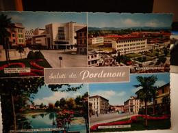 Cartolina Saluti Da Pordenone Vedutine Albergo Moderno E Teatro Verdi,albergo Centrale E Piazza Xx Settembre,laghetto - Pordenone