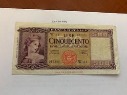 Italy 500 Lire Banknote 1947 #2 - 500 Lire