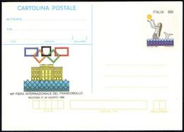 SEA MERMAID / STYLIZED OLYMPIC RINGS - ITALIA RICCIONE 1988 - 40^ FIERA INTERNAZIONALE DEL FRANCOBOLLO - MINT STATIONERY - Expositions Philatéliques