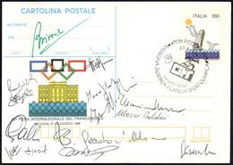 SEA MERMAID / STYLIZED OLYMPIC RINGS - ITALIA RICCIONE 1988 - RASSEGNA EUROPEA FILATELIA SPORT OLIMPICA - STATIONERY - Non Classés