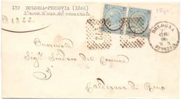1866 R Piego Da Bologna Per Calderara Di Reno Con Coppia Ferro Di Cavallo 2° Mese D'uso Del Numerale - Marcofilía
