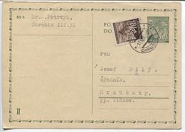 Böhmen Und Mähren Ganzsache P4 II Antwort + Zusatzfrankatur Chrudim 11.3.42 - Storia Postale
