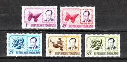 Togo   -  1964. Presidente Con Farfalla, Fiore E Colomba. President With Butterfly, Flower And Dove.Complete MNH Series - Farfalle