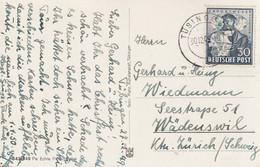 """Bizone / 1949 / Mi. 105 EF Auf AK Stegstempel """"TUEBINGEN"""" In Die Schweiz (C188) - Zona Anglo-Américan"""