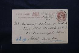 INDE - Entier Postal Type Victoria De Sholapur Pour Bombay En 1886  - L 74936 - 1882-1901 Empire