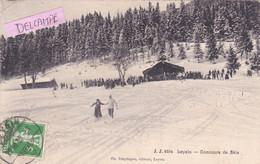 SUISSE- LEYSIN-CONCOURS De SKIS -Edit. Ch. TRAPHAGEN Leysin-Ecrite-1909-Timbrée- (Voir DOS Pour Affranchissement) - Wintersport