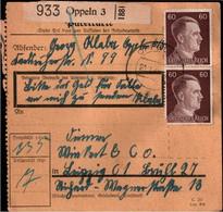 ! 1943 Oppeln, Opole, Oberschlesien Nach Leipzig, Paketkarte, Deutsches Reich, 3. Reich - Brieven En Documenten