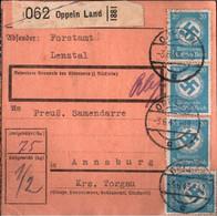 ! 1943 Oppeln Land, Opole, Oberschlesien Nach Annaburg, Dienstmarken, Paketkarte, Deutsches Reich, 3. Reich - Covers & Documents