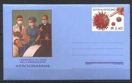 Vaticano, 2020, Aerogramma, Martiri Ed Eroi Del Coronavirus (COVID-19), 2,40 Euro, MNH** - Interi Postali