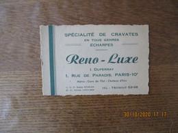 PARIS RENO-LUXE I.DUPERRAY SPECIALITE DE CRAVATES EN TOUS GENRES ECHARPES 1 RUE DE PARADIS 10e CARTE - 1900 – 1949