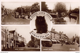 GOOD LUCK FROM GRANTHAM  .............. ( Real Photo Carte Multivue Avec Chat ) - Other