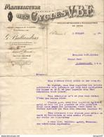 MANUFACTURE DES CYCLES V.B.F G.BALLANDRAS à ST ÉTIENNE  ........  CORRESPONDANCE COMMERCIALE DE 1936 - Sport & Turismo