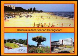Germany DDR 1988 / Grusse Aus Dem Seebad Heringsdorf / Beach Volleyball, Park, Flowers, Hotel - Altri