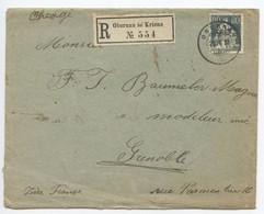 Switzerland 1923 Registered Cover Obernau Bei Kriens To Grenoble France, Scott 143 Helvetica - Cartas