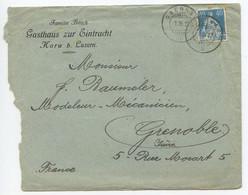 Switzerland 1922 Cover Obernau To Grenoble France, Scott 137a Helvetica - Cartas
