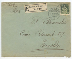 Switzerland 1914 Registered Cover Obernau Dei Kriens To Grenoble France, Scott 139 Helvetica - Cartas