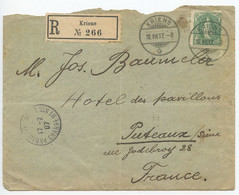 Switzerland 1907 Registered Cover Kriens To Puteaux France, 50c. Helvetica - Covers & Documents