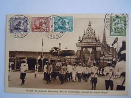 Sa Majesté Monivong, Roi Du Cambodge, Sortant Du Palais Royal 1937 Timbres Indochine Yv 123 150 153 154 - Camboya