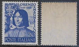 Italia Italy 1949 Lorenzo Il Magnifico Sa N.609 Nuovo Integro MNH ** - 1946-60: Nieuw/plakker
