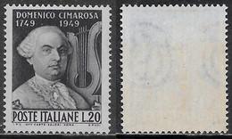 Italia Italy 1949 Cimarosa Sa N.615 Nuovo Integro MNH ** - 1946-60: Nieuw/plakker