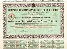 Obligation Ancienne - Compagnie Des Tramways De Nice Et Du Littoral - Titre De 1940 - N° 16992 - - Railway & Tramway