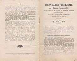 ALENCON COOPERATIVE REGIONALE DE BASSE NORMANDIE STATUS LIVRET DE 16 PAGES ANNEE 1900 - Ohne Zuordnung