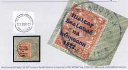 Ireland Mayo 1922 Rubber Climax Dater BUNNAHOWEN BALLINA 5 OCT.22 On Piece With Thom Rialtas 2d Orange. - Vorphilatelie