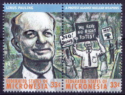 Linus Pauling, Nuclear Weapons, Nobel Chemistry, Micronesia 2000 MNH 2 Stamps - Nobelpreisträger