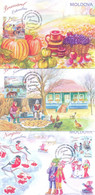 2020. Moldova, Months Of The Year, Autumn, Issue IV, Maxicards, 3v, Mint/** - Moldavie