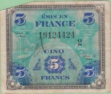 France - Billet De 5 Francs - Emission Alliés - Drapeau - Série 1944 - 1944 Flagge/Frankreich