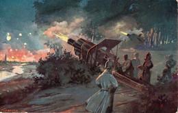 """1914 ILLUSTRATEUR C. KIESSLICH - """" Der Weltkrieg 1914/15 """" Nächtliche BeschieBung Durch Schwere Gesschübe """" - Guerra 1914-18"""