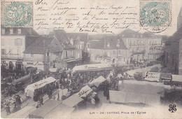VILAOUT20-  VAYRAC  DANS LE LOT   PLACE DE L'EGLISE  LE MARCHE      CPA CIRCULEE - Vayrac